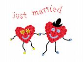 Marriage Couple - Two Smiling Flower Hearts Holding Hands, Text