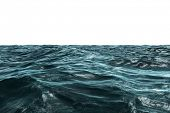 Digitally generated Blue rough ocean on white background