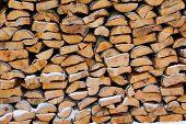 Stacked Alder Hardwood Firewood, Outdoors