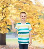 childhood, accomplishment, gesture and people concept - smiling little boy in casual clothes making OK gesture over autumn park background