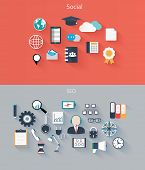 Set Of Flat Icons For Web And Mobile Devices, Social, Seo