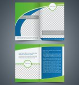 Empty bifold brochure template design with green color booklet