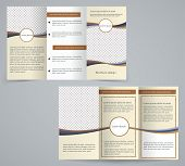 Tri-fold Business Brochure Template, Vector Brown Design Flyer