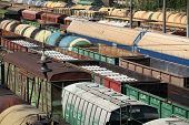 picture of railroad yard  - A train yard full of freight trains High Angle View - JPG