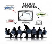 Business People in a Meeting and Cloud Computing Concepts
