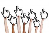 Multi-Ethnic Group of People Holding Cursor