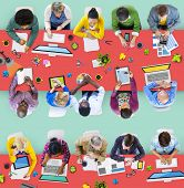 Busy Multiethnic Group of People Working in Illustration