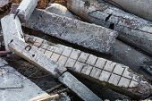 Damaged Concrete Blocks, Piles And Pipes