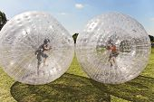 foto of inflatable slide  - children have a lot of fun in the Zorbing Ball - JPG