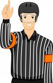stock photo of umpire  - Illustration of a Man Dressed as an Ice Hockey Umpire - JPG