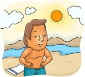 Illustration Featuring a Man Unhappy Over His Sunburn