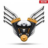 Motorcycle engine with metal wings. Vector Illustration.