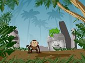 Monkey in the Rain Forest Background