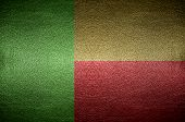 Closeup Screen Benin Flag Concept On Pvc Leather For Background