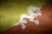 Closeup Screen Bhutan Flag Concept On Pvc Leather For Background