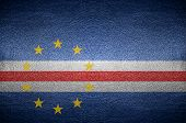 Closeup Screen Cape Verde Flag Concept On Pvc Leather For Background