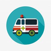 stock photo of ambulance car  - ambulance car flat icon with long shadow - JPG