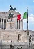 Italian flag in the Vittoriano monument