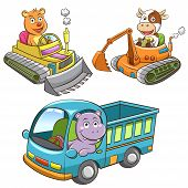 foto of working animal  - set of construction vehicle animal cartoon. 