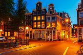 Night City View Of Amsterdam Houses