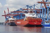 Hamburg - Container Vessels At Terminal