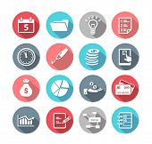 Collection of productivity and time management icons in flat design style