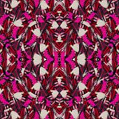 Exotic Red Background Pattern Made Of Fivr Bar Swordtail Butterflies