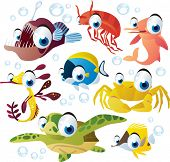 Sea animal set: fish, turtle, dolphin, crab, angler