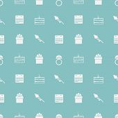 stock photo of wedding feast  - Seamless vector pattern with white silhouette wedding symbols on blue background - JPG