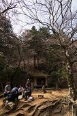 YOSHINO, JAPAN - April 17th : Tourists walking at Yoshino Mountain path Oku-Senbon, Yoshino, Nara, J