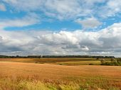 Autumn Landscape. Wheat Fields And The Beautiful Sky