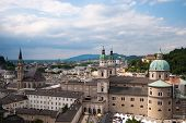 Salzburg panoramic cityscape and Alps