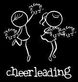 Illustration of girl cheerleaders dancing