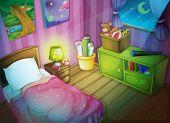Illustration of a bedroom at night
