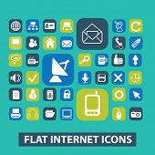flat internet, website icons, signs set, vector
