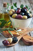 stock photo of kalamata olives  - Mixed marinated olives  - JPG