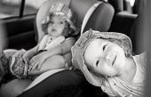 Playful Children In The Car