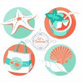 Summer set: starfish, shells, beach bag, sunglasses