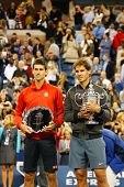 US Open 2013 champion Rafael Nadal and finalist Novak Djokovic during trophy presentation
