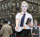 EDINBURGH- AUGUST 16: Member of Lancaster Offshoots publicize their show Neverland during Edinburgh