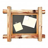 Retro blackboard with wooden frame - over white