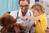 Boy Having Fun At Pediatrician's Office