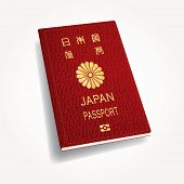 vector red leather Japan passport