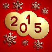 Vector abstract gold circles for the New Year 2015 on red