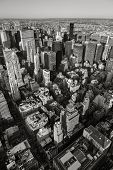 Black & White aerial view of NYC. Vertical New York.