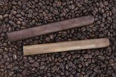 two cigar on coffee beans background