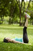 Stretching Woman In Outdoor Exercise Smiling Happy Doing Stretches In The Park-beautiful Happy Smili
