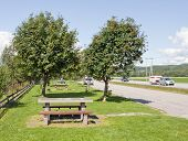 GLOMMA, NORWAY ON JULY 27. Rest area next to a highway on July 27, 2011 in Glomma, Norway.