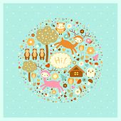 vector funny card with deer, bears, trees and birds