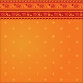 picture of sari  - Orange background in a traditional indian sari dress pattern - JPG